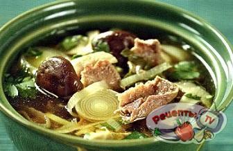 Мисо-суп с грибами и утиной грудкой