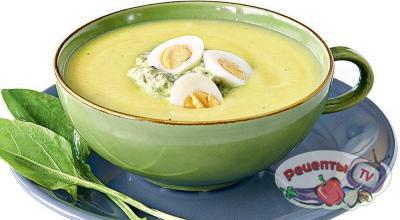 Холодный суп из щавеля с перепелиными яйцами